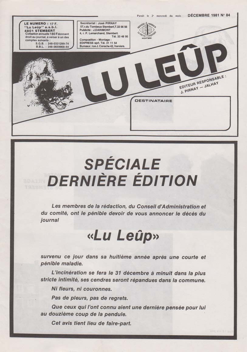 Journal 12 dec 1981 derniere edition