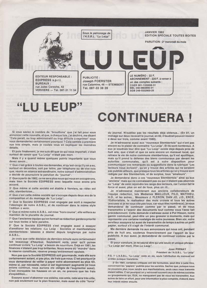Journal 13 jan 1982 poursuite activite