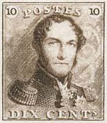 Premier timbre 01 10 centimes brun