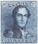 Premier timbre 02 20 centimes bleu